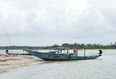 Boats anchored at crab island, chilka lake, Orissa Stock Images