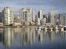 Boats anchored in False Creek Vancouver Royalty Free Stock Photography