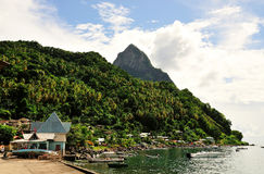 Boats anchored at the harbor of Soufriere Stock Photography