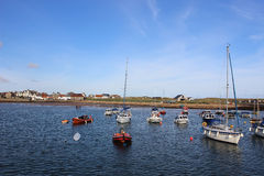 Boats anchored in harbour, Elie, East Neuk, Fife Royalty Free Stock Photo