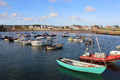 Boats anchored in harbour, Elie, East Neuk, Fife Royalty Free Stock Photos