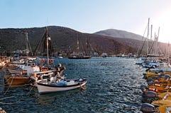 Boats anchored in marina stock photo