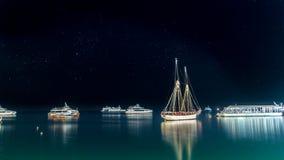 Boats anchored near the shores of Zanzibar Stock Photo