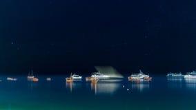 Boats anchored near the shores of Zanzibar Royalty Free Stock Photo