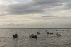 Boats anchored off the coast of Rio Caribe. In Venezuela stock photo