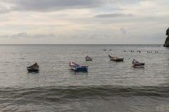 Boats anchored off the coast of Rio Caribe. In Venezuela royalty free stock photography