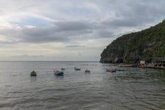 Boats anchored off the coast of Rio Caribe. In Venezuela stock photos