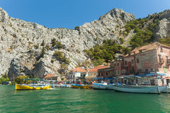 Boats anchored in the port of Omis Royalty Free Stock Photo