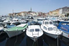 Boats anchored in Rovinj Stock Image