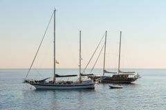 Boats anchored in the small port of Marciana, Elba Island, Italy Stock Image