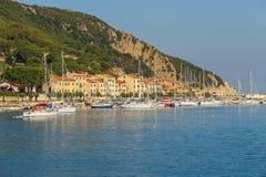 Boats anchored in the small port of Marciana, Elba Island, Italy Royalty Free Stock Photography