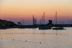 Boats anchored in the small port of Marciana, Elba Island, Italy Stock Photography