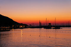 Boats anchored in the small port of Marciana, Elba Island, Italy Stock Images