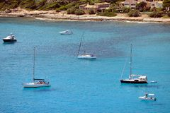 Boats anchoring at Canyamel, Mallorca Stock Image