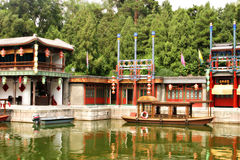Boats And Shops, Summer Palace, Beijing Royalty Free Stock Image