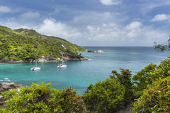 Boats at Anse Major, Mahe, Seychelles. Boats at Anse Major in the west of Mahe, Seychelles royalty free stock photo