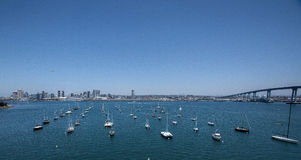 Boats Arranged in San Diego Harbor Stock Photos
