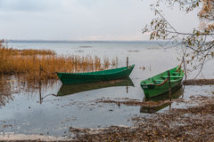 Boats ashore in a gaze Stock Images