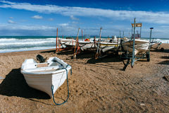 Boats ashore on the sand. Boat ashore on the sand, Mediterranean Sea, sunny day royalty free stock photos