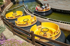 Boats of attraction Grand Canyon Rapids. Park Portaventura, Salou, Spain. Royalty Free Stock Images