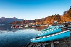 Boats are availble for tourist at Lake Kawaguchi, Japan. Boats are availble for tourist at beautiful Lake Kawaguchi, Japan stock photos