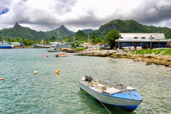 Boats in the Avatiu harbor in Rarotonga, Cook Islands. Royalty Free Stock Photo