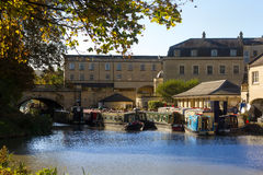 Boats on Avon channel in Bath, England Royalty Free Stock Photo