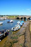 Boats in Axmouth harbour. Stock Photo