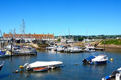 Boats in Axmouth harbour. Royalty Free Stock Image