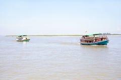 Boats on the Ayarwaddi river in Myanmar Royalty Free Stock Photo