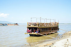 Boats on the Ayarwaddi river in Myanmar Royalty Free Stock Images