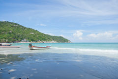 Boats on the background of beautiful seascape, Thailand, Phangan Royalty Free Stock Photo