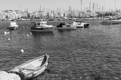 Boats on the background of city. Stock Image