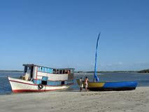 Boats in the baech. Boats of fish in the beach - Brazil Royalty Free Stock Photos