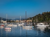Boats in Baia delle Favole in front of Sestri Levante stock photo