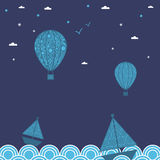 Boats and balloons Royalty Free Stock Photography