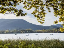 Boats in banyoles lake Stock Photography