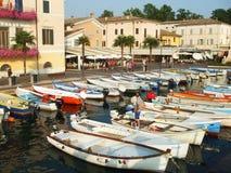 Bardolino Harbour, lake Garda, Italy. Boats in Bardolino Harbour, lake Garda, Italy. July 2009 stock images