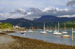 Boats in Barmouth Harbour Stock Image