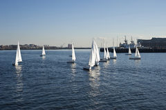 Boats in the bay. A shot of sail boats in boston massachusetts bay Royalty Free Stock Photo