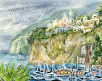 Boats in the bay. Against fishing village Vico Equense on a rocky seashore. Pastel/watercolors landscape Royalty Free Stock Photo