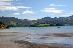 Boats on the bay,. Otago Peninsula, dunedin, south island, new zealand Royalty Free Stock Photography