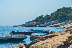 Boats in the bay of the beautiful Aliki beach, Thassos island, Greece Royalty Free Stock Photo