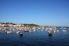 Boats in the bay of Cadaques royalty free stock photos