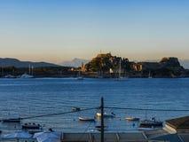 Boats in the bay of Corfu Town on  the Greek Island of Corfu Stock Image