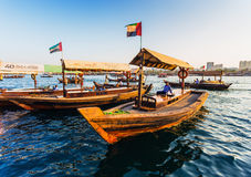 Boats on the Bay Creek in Dubai, UAE Stock Photos