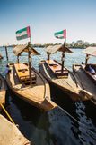 Boats on the Bay Creek in Dubai, UAE Royalty Free Stock Images