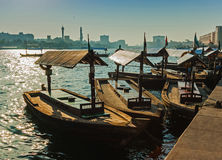 Boats on the Bay Creek in Dubai, UAE Stock Images