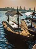 Boats on the Bay Creek in Dubai, UAE Royalty Free Stock Photos