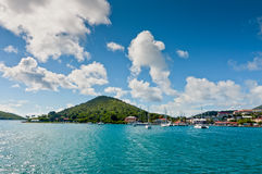 Boats in the bay at the cruise port in Charlotte Amalie, St. Tho Stock Photo